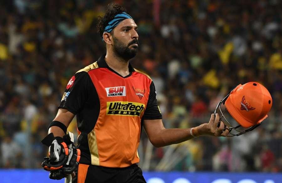Kolkata: Yuvraj Singh of Sunrisers Hyderabad reacts after getting dismissed during an IPL 2017 match between Kolkata Knight Riders and Sunrisers Hyderabad at Eden Gardens, Kolkata on April 15. 2017. (Photo: IANS) by .