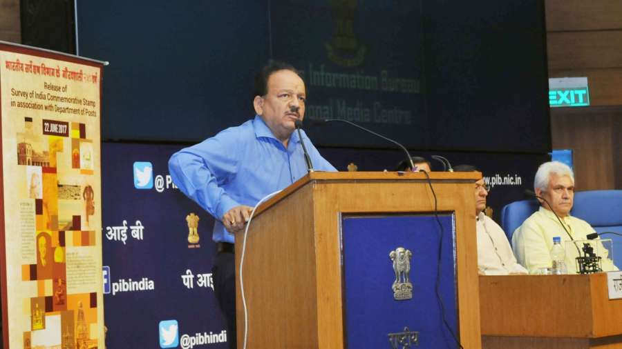 "New Delhi: Union Minister for Science and Technology, Earth Sciences and Environment, Forest and Climate Change, Dr. Harsh Vardhan addresses at the launch of the web-portal of ""VAJRA"" (Visiting Advanced Joint Research) Faculty Scheme of Science & Engineering Research Board and the release of a commemorative stamp on the occasion of 250 years of Survey of India, in New Delhi on June 22, 2017. Also seen Minister of State for Communications (Independent Charge) and Railways Manoj Sinha. (Photo: IANS/PIB) by ."