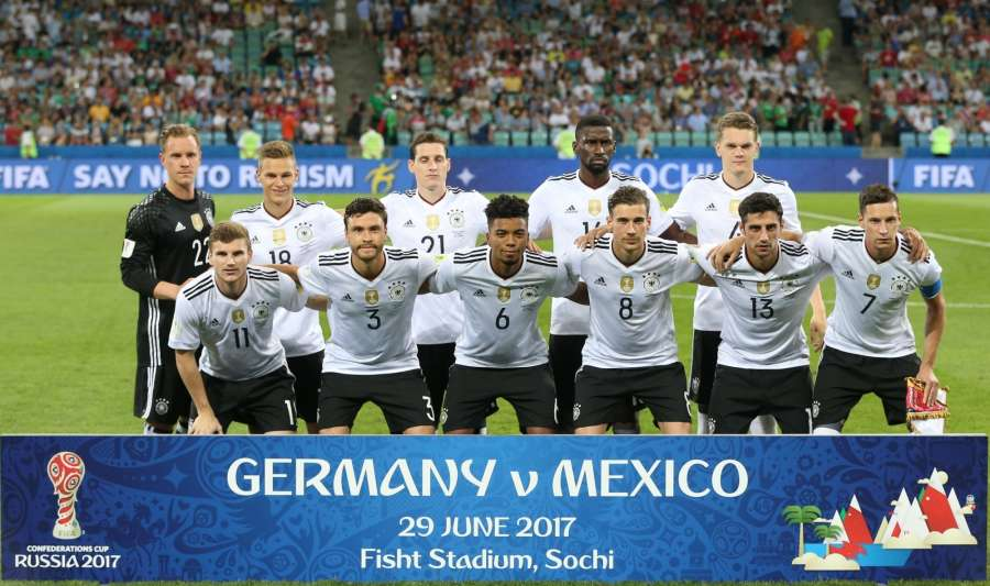 SOCHI, June 30, 2017 (Xinhua) -- Team Germany pose for a group photo prior to the semifinal match of the 2017 FIFA Confederations Cup against Mexico in Sochi, Russia, June 29, 2017. Germany won 4-1. (Xinhua/Xu Zijian/IANS) by .