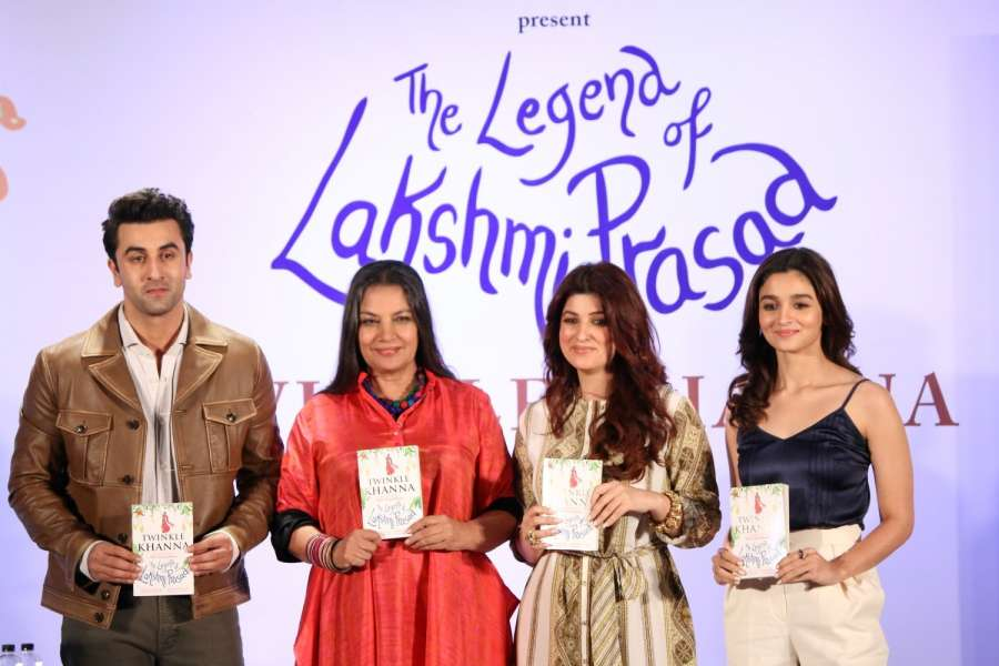 Mumbai: Actors Ranbir Kapoor, Shabana Azmi, Twinkle Khanna and Alia Bhatt during the launch of book, The Legend of Lakshmi Prasad, a collection of four short stories by author Twinkle Khanna, in Mumbai, on Nov 15, 2016. (Photo: IANS) by .