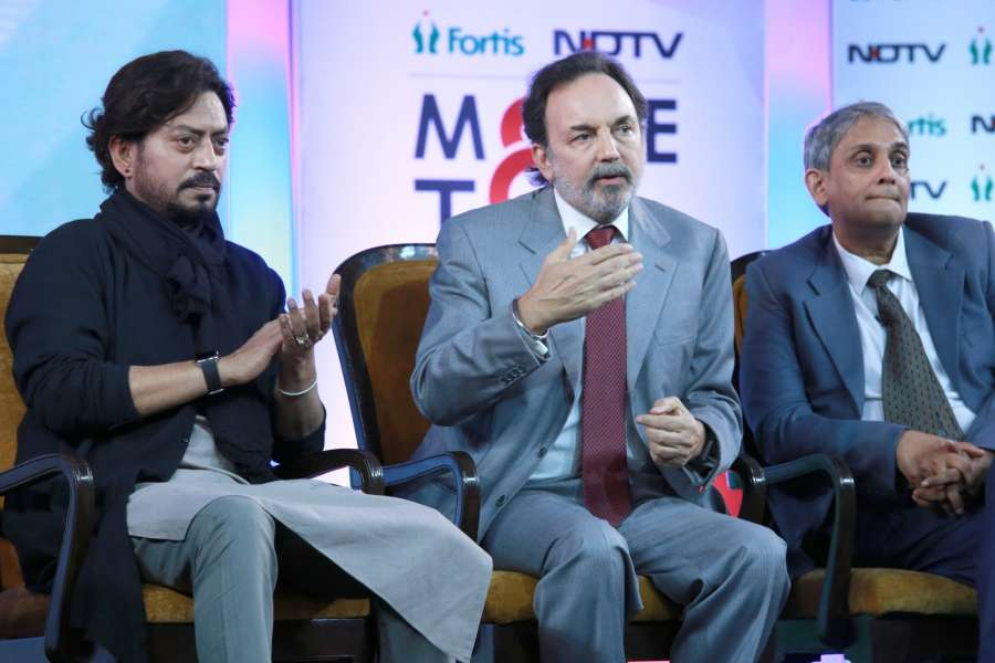 New Delhi: Actor Irrfan Khan and NDTV Group Co-Chairperson Founder & Executive Dr. Prannoy Roy during the launch of the 'More To Give' campaign on the occasion of Kargil Diwas in New Delhi on July 26, 2016. (Photo: Amlan Paliwal/IANS) by .