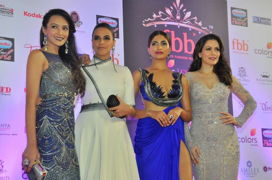 Mumbai: Actresses and mentors Dipannita Sharma (East Zone), Neha Dhupia (North Zone), Parvathy Omanakuttan (South Zone) and Waluscha de Sousa (West Zone) during the grand finale of fbb Femina Miss India 2017 in Mumbai, on June 25, 2017. (Photo: IANS) by .