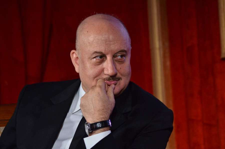 Mumbai: Actor Anupam Kher during the launch of talk show The Anupam Kher Show - Kucch Bhi Ho Sakta Hai in Mumbai, on July 21, 2015. (Photo: IANS) by .
