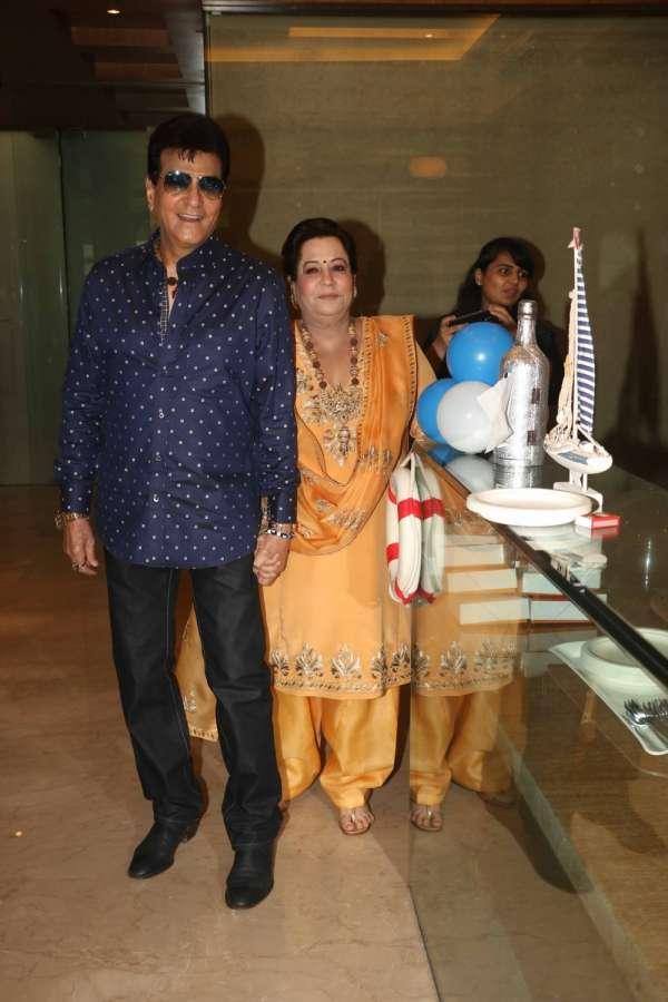 Mumbai: Actor Jeetendra with his wife Shobha Kapoor during Tussar Kapoor son Laksshay`s first birthday party in Mumbai on June 1, 2017. (Photo: IANS) by .