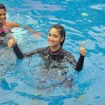 Mumbai: Actress Yami Gautam practice Speedo Aquafit-Vertical underwater fitness training program in Mumbai, on June 21, 2017. (Photo: IANS) by .