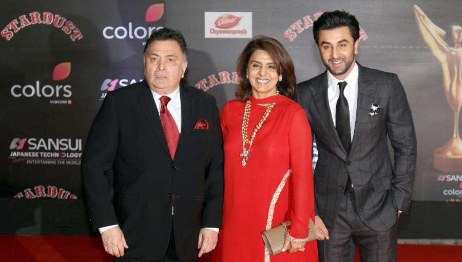 Mumbai: Actors Rishi Kapoor along with his wife Neetu Singh and son Ranbir Kapoor during Sansui Colors Stardust Awards 2016 in Mumbai on Dec 19, 2016. (Photo: IANS) by .