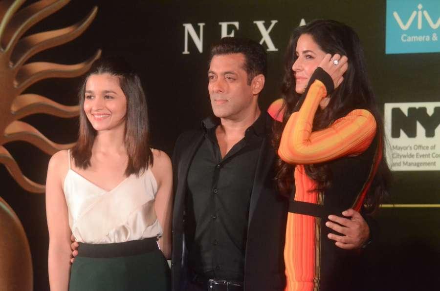 Mumbai: Bollywood stars Alia Bhatt, Salman Khan and Katrina Kaif addressing press conference to reveal some of the details about 18th edition of the International Indian Film Academy (IIFA) Awards in Mumbai on June 1, 2017. (Photo: Sandeep Mahankal/IANS) by .
