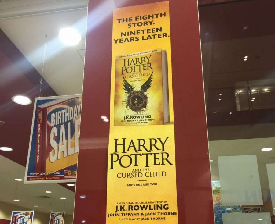 CANBERRA, July 31 (Xinhua) -- Photo taken on July 31, 2016 shows an advertisement of Harry Potter and the Cursed Child, the eighth story published as the Harry Potter book series, at a shopping mall in Canberra, Australia. Harry Potter and the Cursed Chil by .