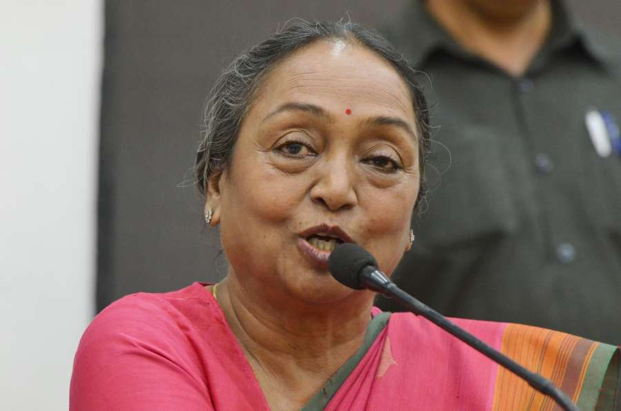 New Delhi: UPA's presidential candidate Meira Kumar addresses a press conference in New Delhi, on June 27, 2017. (Photo: IANS) by .
