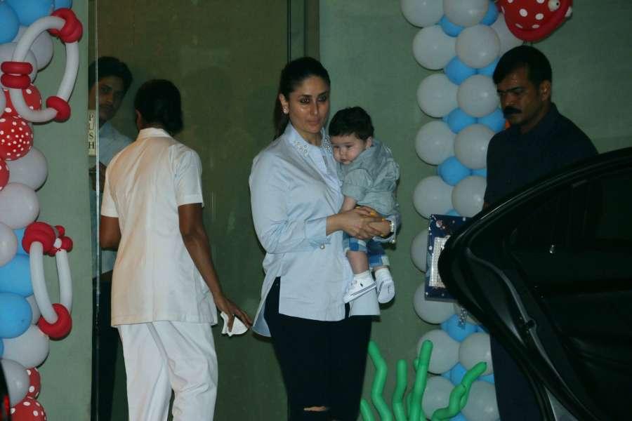 Mumbai: Actress Kareena Kapoor with her son Taimur Ali Khan during Tussar Kapoor son Laksshay`s first birthday party in Mumbai on June 1, 2017. (Photo: IANS) by .