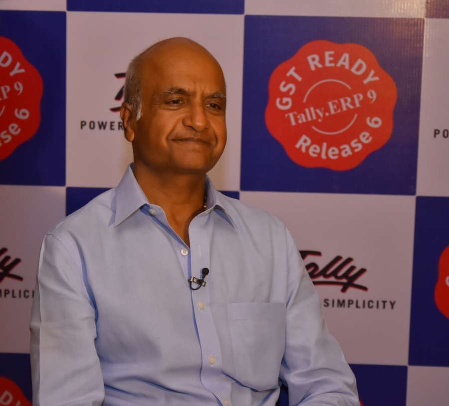 """New Delhi: Tally Solutions Managing Director Bharat Goenka during the launch of """"Tally.ERP 9 release 6.0 - Complete GST Solutions"""" in New Delhi on June 22, 2017. (Photo: IANS) by ."""