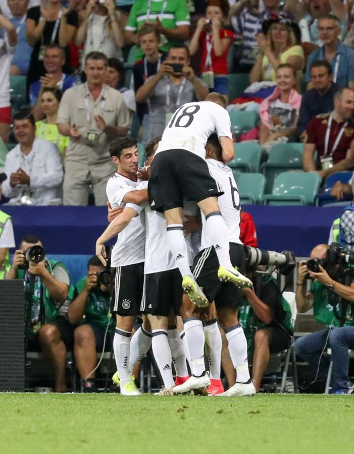 SOCHI, June 30, 2017 (Xinhua) -- Players of Germany celebrate after Leon Goretzka scores their first goal during the semifinal match of the 2017 FIFA Confederations Cup against Mexico in Sochi, Russia, June 29, 2017. Germany won 4-1. (Xinhua/Xu Zijian/IANS) by .