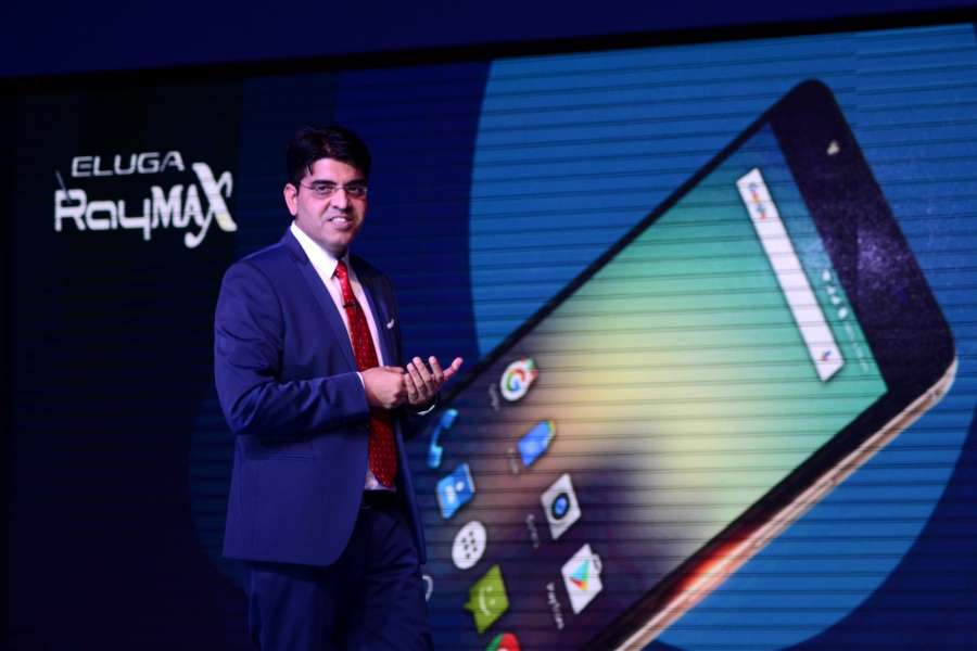 Gurgoan: Panasonic India Mobility Division Business Head Pankaj Rana addresses during the launch of Panasonic's AI-based smartphones in Gurgoan on Feb 27, 2017. (Photo: Zuhaib Mohammad/IANS) by .
