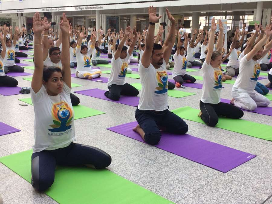 The Hague: Indian cricketer Suresh Raina during International Day of Yoga celebrations in The Hague, Netherlands on June 18, 2017. (Photo: IANS) by .