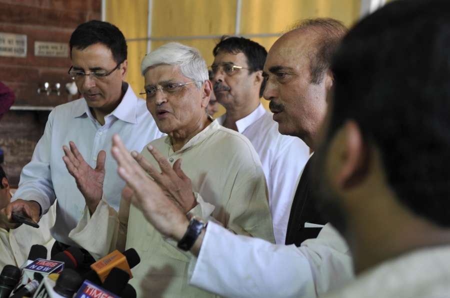 New Delhi: UPA's vice presidential candidate Gopalkrishna Gandhi talks to press at Parliament on July 18, 2017. (Photo: IANS) by .