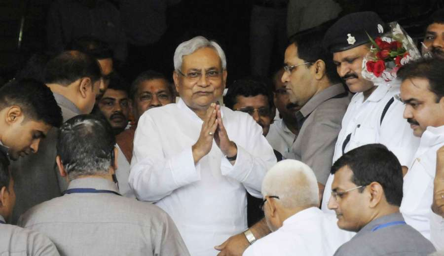 Patna: Bihar Chief Minister Nitish Kumar arrives at Bihar Assembly to prove his majority in floor test in Patna on July 28, 2017. (Photo: IANS) by .