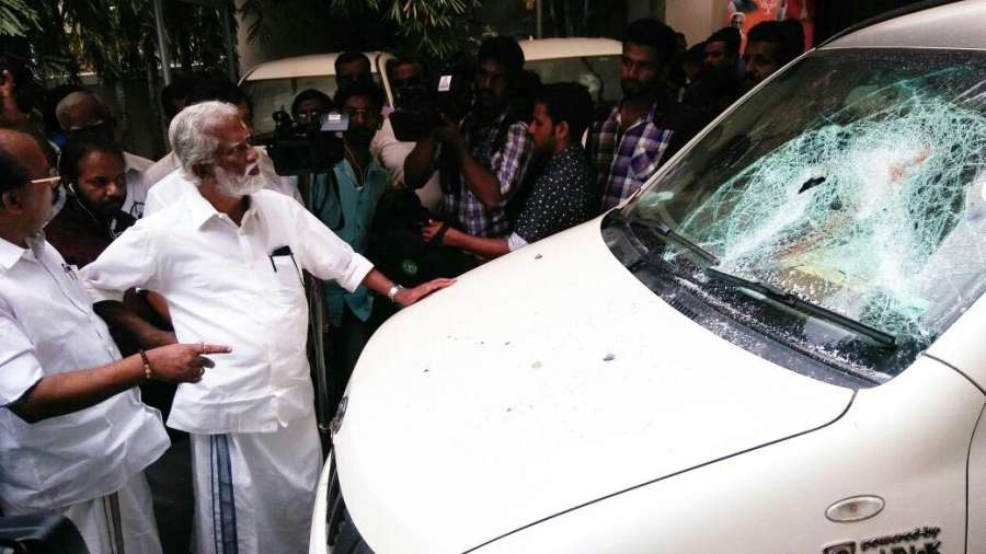 Thiruvananthapuram: A vehicle with damaged windscreen at BJP office that was vandalised in Thiruvananthapuram on July 27, 2017. (Photo: IANS) by .