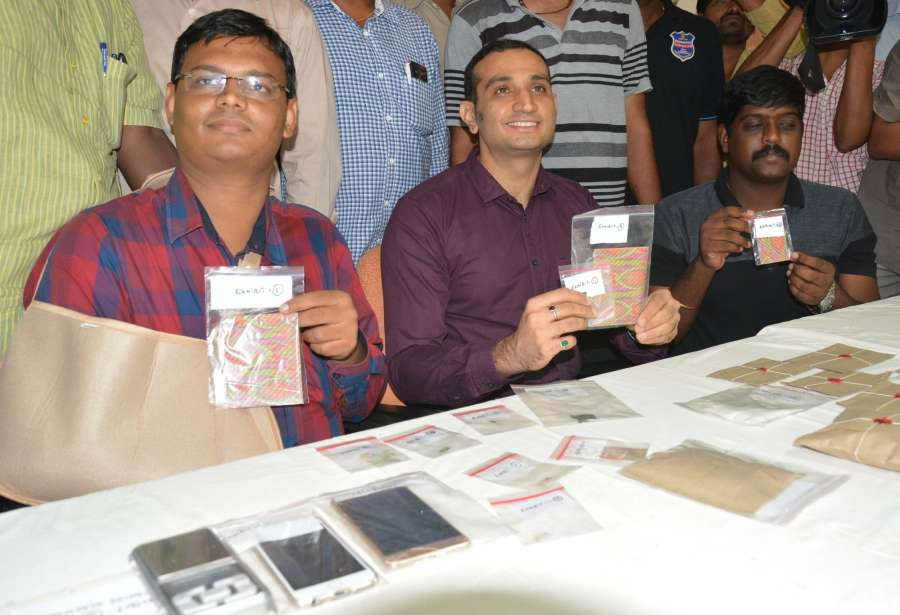 Hyderabad: Hyderabad police displays 800 blots of LSD and MDMA seized from drug peddlers in Hyderabad on July 10, 2017. (Photo: IANS) by .