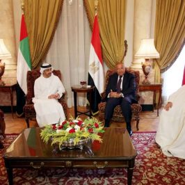 """CAIRO, July 5, 2017 (Xinhua) -- Egyptian Foreign Minister Sameh Shoukry (2nd R) meets with Saudi Foreign Minister Adel Al-Jubeir (1st L), United Arab Emirates (UAE) Minister of Foreign Affairs Sheikh Abdullah Bin Zayed (2nd L) and Bahraini Foreign Minister Sheikh Khalid bin Ahmed Al Khalifa (1st R) in Cairo, Egypt, on July 5, 2017. Egyptian Foreign Minister Sameh Shoukry said on Wednesday that Qatar's response to the demands of Egypt and Gulf countries was """"very negative."""" (Xinhua/STR/IANS) by ."""