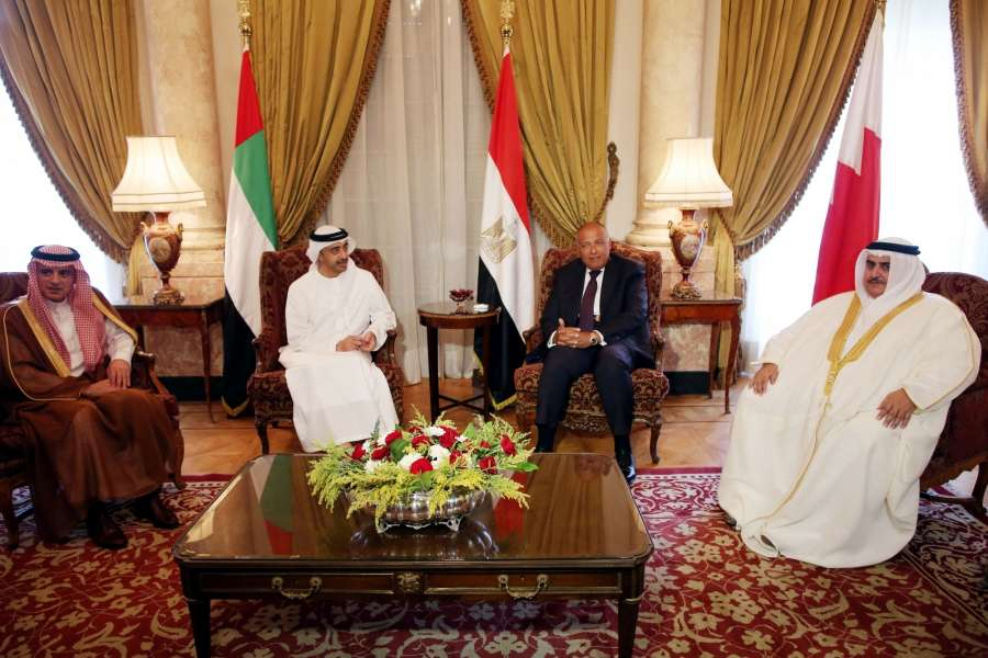 CAIRO, July 5, 2017 (Xinhua) -- Egyptian Foreign Minister Sameh Shoukry (2nd R) meets with Saudi Foreign Minister Adel Al-Jubeir (1st L), United Arab Emirates (UAE) Minister of Foreign Affairs Sheikh Abdullah Bin Zayed (2nd L) and Bahraini Foreign Minister Sheikh Khalid bin Ahmed Al Khalifa (1st R) in Cairo, Egypt, on July 5, 2017. Egyptian Foreign Minister Sameh Shoukry said on Wednesday that Qatar's response to the demands of Egypt and Gulf countries was