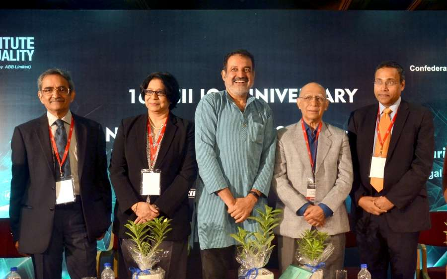 Bengaluru: CII Past Chairman (SR) TT Ashok, IBM India Pvt. Ltd Chairman Vanitha Narayanan, Manipal Global Education Services Pvt. Ltd Chairman Mohan Das Pai, CII Past President Ashok Soota, CII Institute of Quality Chairman and TATA Chemicals Ltd. MD R Mukundan at IQ anniversary 2017 and National Business Excellence Conclave 2017 in Bengaluru on May 9, 2017. (Photo: IANS) by .