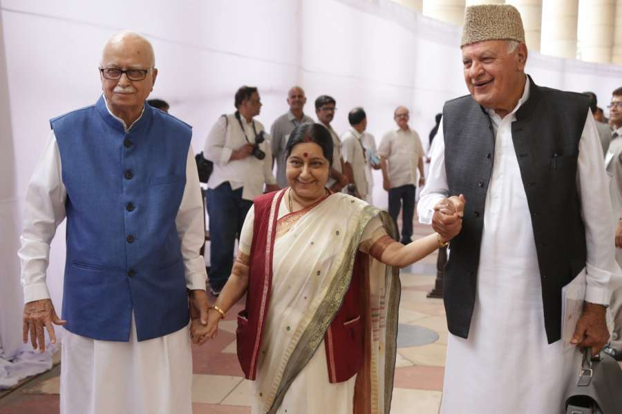 New Delhi: External Affairs Minister Sushma Swaraj, BJP veteran L.K. Advani and National Conference (NC) president Farooq Abdullah arrive at Parliament to cast their votes during presidential polls in New Delhi, on July 17, 2017. (Photo: Amlan Paliwal/IANS) by .