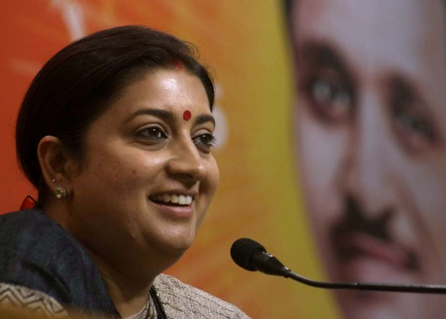 New Delhi: Union Minister and BJP leader Smriti Irani addresses a press conference in New Delhi on April 24, 2017. (File Photo: IANS) by .