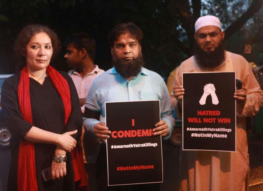 New Delhi: People participate in a