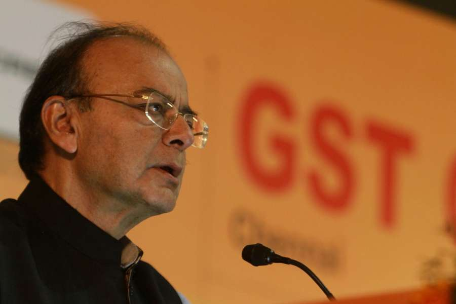 Chennai: Union finance Minister Arun Jaitley addresses during GST Conclave at Madras University in Chennai on July 30, 2017. (Photo: IANS) by .