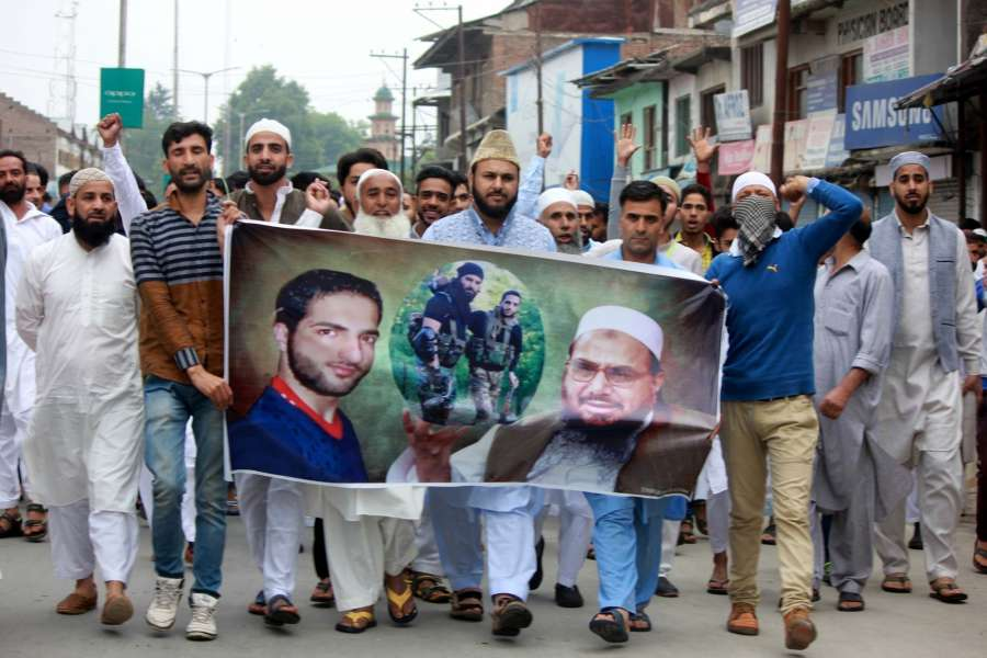 Anantnag: Clashes broke out between security forces and protesters after the prayers on the occasion of Eid ul Fitr in Anantnag, on June 26, 2017. (Photo: IANS) by .