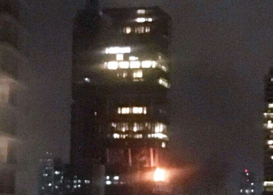 Mumbai: A fire broke out on a terrace in industrialist Mukesh Ambani's multi-storied south Mumbai residence 'Antilla' on July 10, 2017. (Photo: IANS) by .