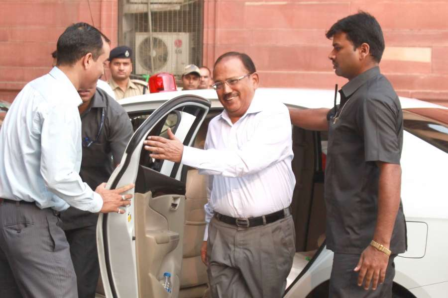 "New Delhi: National Security Advisor Ajit Doval arrives to attend an All Party meeting at North Block in New Delhi on Sept 29, 2016. India caused ""significant casualties"" on terrorists and those who support them during surgical strikes across the India-Pakistan border late on Wednesday. (Photo: Amlan Paliwal/IANS) by ."