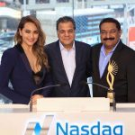 Actress Sonakshi Sinha, Viacom 18 CEO Raj Nayak and Wizcraft International Entertainment Founder and Director Sabbas Joseph who are in New York for IIFA 2017 , at Times Square on July 12, 2017. (Photo: IANS) by .