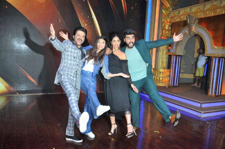 Mumbai: Actors Anil Kapoor, Athiya Shetty, Ileana D'Cruz and Arjun Kapoor during the promotion of upcoming film