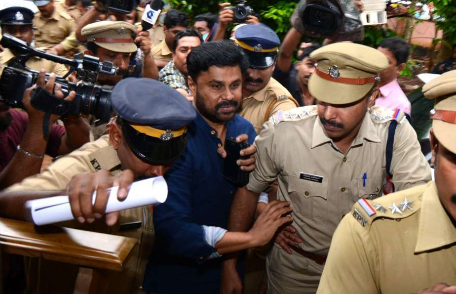 Kochi: Malayalam actor Dileep being taken to Aluva jail on July 11, 2017. Malayalam actor Dileep was arrested by police regarding an abduction case of an actress at Aluva in Kochi. (Photo: IANS) by .