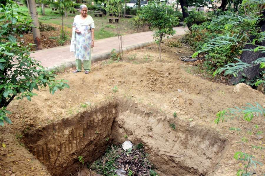New Delhi: A six feet deep uncovered compost pit in a South Municipal Corporation of Delhi (SDMC) controlled park. According to the Delhi Government there are about 700 such compost pits in parks of the city. (Photo: Nikhil Babu/IANS) by .