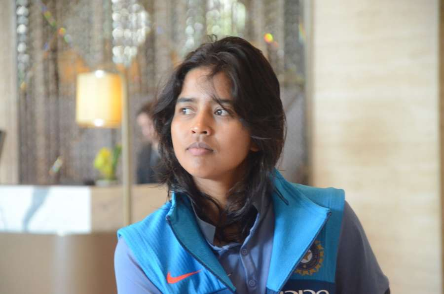 Mumbai: Indian women cricketer Ekta Bisht at a Mumbai hotel after returning from England on July 26, 2017. Indian team finished as runner-ups in the ICC Women's World Cup after losing narrowly by nine runs against hosts England in the final. (Photo: IANS) by .