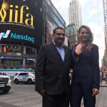 Actress Sonakshi Sinha and Wizcraft International Entertainment Founder and Director Sabbas Joseph who are in New York for IIFA 2017 , at Times Square on July 12, 2017. (Photo: IANS) by .