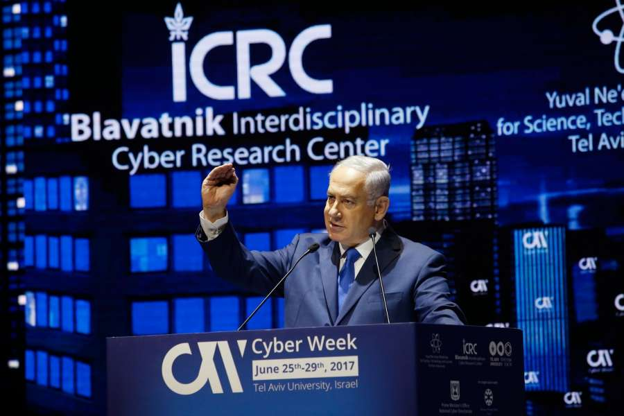 TEL AVIV, June 26, 2017 (Xinhua) -- Israeli Prime Minister Benjamin Netanyahu delivers a speech during a Cyber Week Conference in Tel Aviv, Israel, on June 26, 2017.(Xinhua/Gil Cohen Magen/IANS) by .