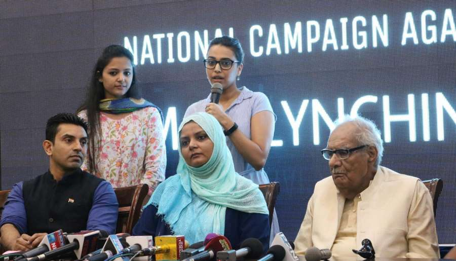 New Delhi: Actress Swara Bhaskar, AISA activist Shehla Rashid and others during a programme organised to launch National Campaign against Mob-lynching in New Delhi, on June 5, 2017. (Photo: IANS) by .