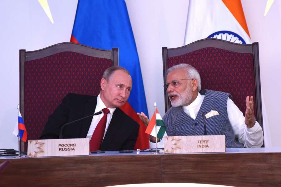 Goa: Prime Minister Narendra Modi and Russian President Vladimir Putin witness the laying of Foundation Concrete of the Kudankulam Nuclear Power Plant Units-3 and 4 in Goa on Oct 15, 2016. (Photo: IANS) by .