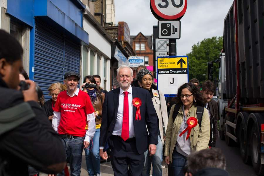 LONDON, June 8, 2017 (Xinhua) -- Leader of Britain's main opposition Labour Party Jeremy Corbyn (Front C) walks to the polling station in London, Britain on June 8, 2017. (Xinhua/Richard Washbrooke/IANS) (lrz) by .