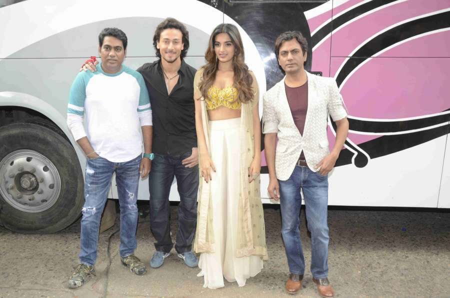 Mumbai: Actors Tiger Shroff, Nidhhi Agrawal and Nawazuddin Siddiqui during the promotion of their upcoming film