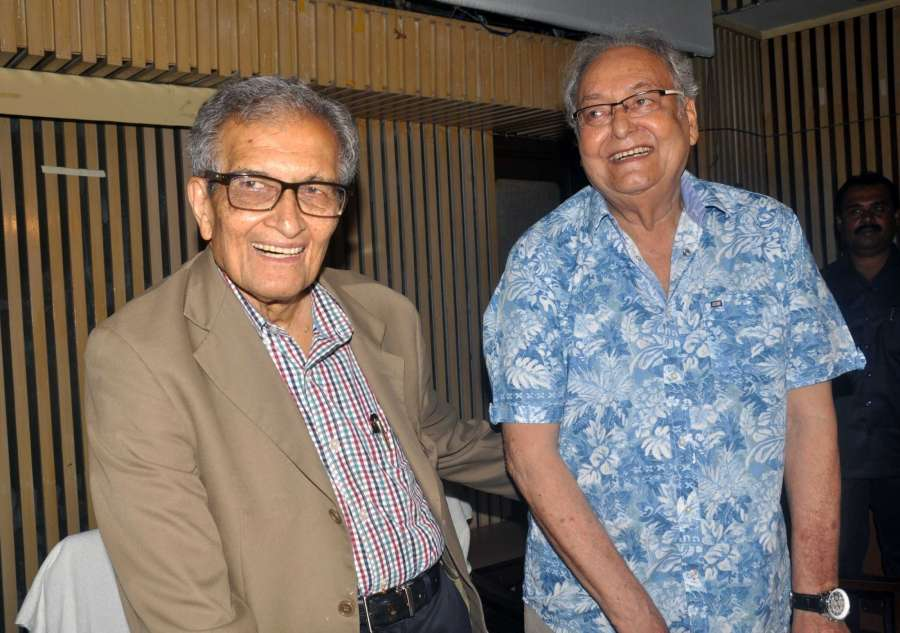 """Kolkata: Nobel laureate Amartya Sen and actor Soumitra Chatterjee during the special screening of Suman Ghosh's film """"The Argumentative Indian"""" in Kolkata, on July 10, 2017. (Photo: IANS) by ."""
