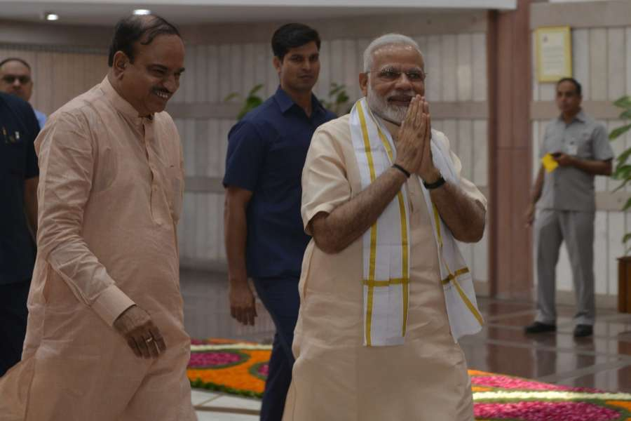 New Delhi: Prime Minister Narendra Modi and Union Minister Ananth Kumar arrive to attend an all-party meeting ahead of the monsoon session of Parliament, in New Delhi on July 16, 2017. (Photo: IANS) by .