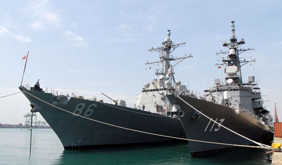Chennai: Malabar naval exercise underway in the Bay of Bengal on July 10, 2017. The India-US-Japan Naval exercise Malabar started with 16 ships and more than 95 aircraft. The thrust of exercises at sea this year would be on Aircraft Carrier operations, Air Defence, Anti-Submarine Warfare (ASW), Surface Warfare, Visit Board Search and Seizure (VBSS), Search and Rescue, Joint Manoeuvres and Tactical procedures. (Photo: IANS) by .