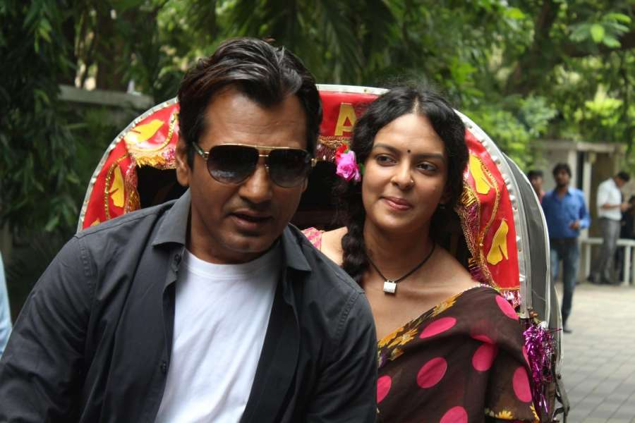 Mumbai: Actors Nawazuddin Siddiqui and Bidita Bag during the trailer launch of upcoming film
