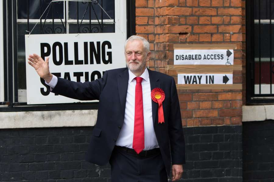 LONDON, June 8, 2017 (Xinhua) -- Leader of Britain's main opposition Labour Party Jeremy Corbyn gestures in front of a polling station in London, Britain on June 8, 2017. (Xinhua/Richard Washbrooke/IANS) (lrz) by .