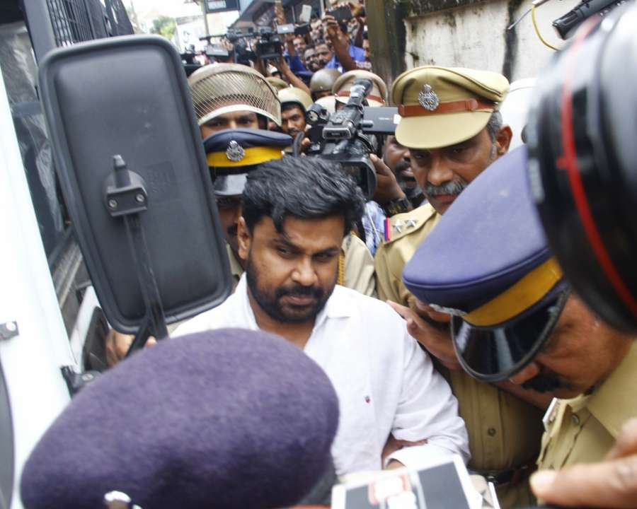 Kochi: Actor Dileep being taken to be produced before Judicial First Class Magistrate Court Angamaly in connection with the abduction and molestation of a popular actress in Kochi on July 14, 2017. (Photo: IANS) by .