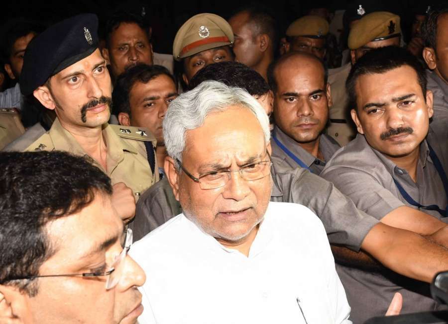 Patna: Bihar Chief Minister Nitish Kumar talk to press after meeting Bihar Governor Keshari Nath Tripathi in Patna on July 26, 2017. Kumar said he had quit in the interest of the state after failing to resolve a crisis plaguing the ruling Grand Alliance. He made it clear that it was becoming difficult to continue to head the coalition of his party, the RJD -- whose Deputy Chief Minister Tejashwi Yadav is facing corruption charges -- and the Congress. (Photo: IANS) by .